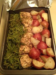 In a 9x13 pan, cut 3 boneless chicken breast in half, add 2 cans of green beans on one side, and cut up red skinned potatoes on the other side. Sprinkle a packet of zesty Italian dressing mix on top. Drizzle 1 stick of melted butter all over it. Cover with aluminum foil and bake at 350 for 1 hour.