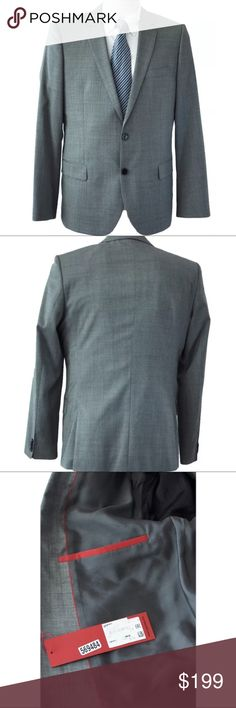 Hugo Boss Mens Gray Wool Two-Button Blazer 42R Hugo Boss Red Label 100% Wool Blazer Beautiful blazer - Extremely Soft to the $895 MSRP Color: Grey- Please zoom in to see handsome fabric 2 button frontSingle breasted 2 lowerfront slip pockets 1 chest pocket 2 inside pockets - one secured with button closure Double vent back Fully lined 100% Wool  (Please double-check your measurements) Armpit To Armpit (Chest) 22 inches  Shoulder 18 inches Shoulder Seam To Sleeve End 26 1/2 inches Back…