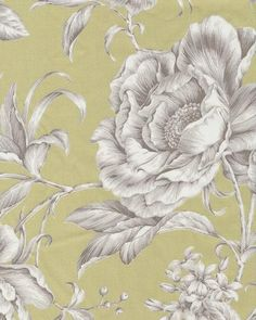 Floral Toile fabric - celery - white and grey on green - $19.95/yd