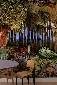 A tropical forest wallpaper mural comprising palms, banana plants and other exotic fruit-bearing trees, rising from a dense ground cover of flowering cactuses, spiky Agarve and the wide flat leaves of swiss cheese plants. Tree Wallpaper Design, Palm Wallpaper, Flamingo Wallpaper, Tropical Wallpaper, Forest Wallpaper, Wallpaper Murals, Marimekko Wallpaper, Designers Guild Wallpaper, Wall Stickers Window