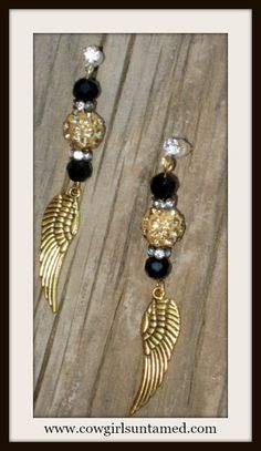 COWGIRL GYPSY EARRINGS Gold Angel Wing Charm on Black Crystal Rhinestone Earrings