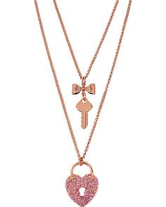 ROSE GOLD HEART KEY NECKLACE