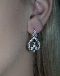 Antique Edwardian 2.70 CT Lab Grown Diamond Silver Gold Dangle Earrings | eBay
