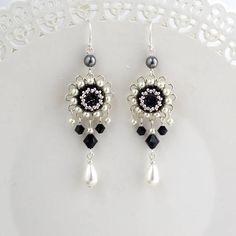 Black white earring Silver chandelier earrings Long silver