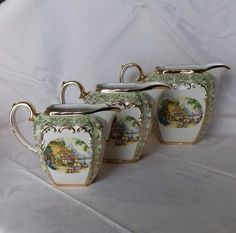 Sadler cube shape large Graduating Jugs crinoline lady cottage garden green filigree *smallest has damage