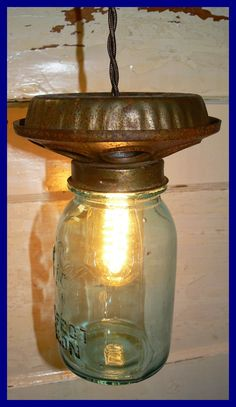 Just Custom Lighting - Listings View Chicken Feeder Light With Blue Or Clear Ball Perfect Mason Jar Mason Jar Projects, Mason Jar Crafts, Mason Jar Lighting, Mason Jar Lamp, Primitive Lighting, Chicken Feeders, Chicken Waterer, Automotive Decor, Ball Jars