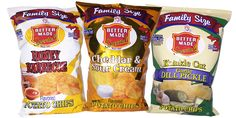 Now available in Family Size Bags! - Honey BBQ, Krinkle Cut Garlic Dill Pickle and Cheddar & Sour Cream Potato Chips