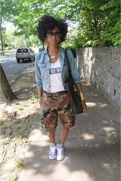 pants camouflage denim jacket natural classy sneakers black bag jacket shoes jewels shorts camouflage camouflage is part of braids - braids Black Women Fashion, Look Fashion, Girl Fashion, Fashion Outfits, Womens Fashion, Camo Fashion, Fashion Clothes, Street Fashion, Camouflage Fashion