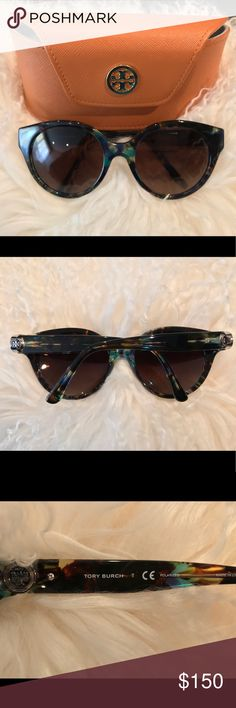 93af14afc98a Tory Burch Blue Brown Tort Polarized Sunglasses • Frame Style  ROUND • Frame