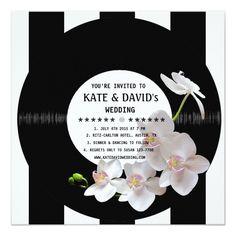 Retro Vinyl Record Orchids Modern Wedding Invites