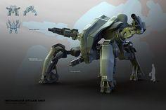 M.A.U. Mech Design Picture  (3d, sci-fi, concept art, mech, robot, tank)