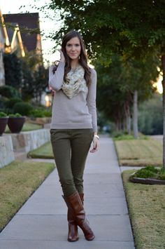 printed scarf + beige crewneck sweater + olive skinnies + cognac riding boots
