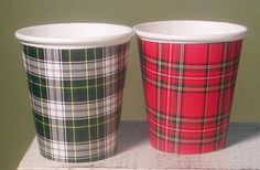 Tartan Plaid Hot/Cold Paper Party Cups - Set of 12