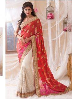 Exuberant Red , pink & White Coloured Designer Saree