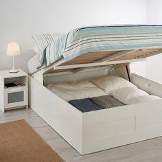 BRIMNES Struttura letto con contenitore, bianco, 160x200 cm - IKEA IT Lift Storage Bed, Storage Bed Queen, Box Bed Design, Bed Designs With Storage, Cama Queen, Cama Box, Bedroom Cabinets, Ikea Malm, Best Ikea