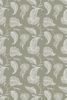 Curiosity (Curiosit/002) - Blendworth Fabrics - A pretty Jacobean style floral trail design with delicate embroidery effect. Shown in the cream on a soft grey base. Linen mix fabric. Please request sample for true colour and texture.`