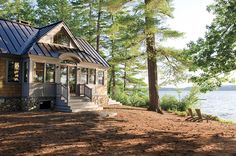 Rustic Lake House with Metal Roof. Lake house with metal roof. The metal roof is a standing seam metal roof. Lakeside Living, Lakeside Cottage, Lake Cottage, Cozy Cottage, Cozy House, Cozy Cabin, Cottage Ideas, Small Lake Houses, Rustic Lake Houses