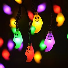 LEVIITEC Halloween String Lights, Solar Powered Outdoor Halloween Decorations, 30 LED 8 Modes Ghost Steady / Flickering Lights for Party Patio Decor [Light Sensor] [Waterproof] Multicolor Flickering Lights, Solar String Lights, String Lights Outdoor, Outdoor Lighting, Outdoor Garland, Led Garland, Outdoor Halloween, Halloween Ghosts, Halloween Party