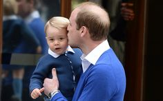 The royal toddler arrived at the Lindo Wing of St Mary's Hospital, Paddington, in his father's arms for his first introduction as a big brother