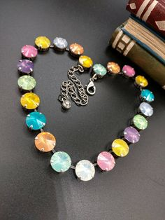 Spring Fling Opal Crystal Cup Chain Choker-Necklace Antique