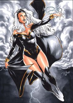 Storm from The Marvel Comic Universe and The X-Men. Storm Comic, Storm Xmen, Storm Marvel, Comic Book Artists, Comic Book Characters, Marvel Characters, Comic Character, Comic Books Art, Comic Art