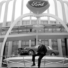 Henry Ford II revealing the 1964 1/2 Mustang at the World's Fair in Flushing Meadows, New York.