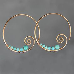 Turquoise copper wiring scroll hoop earring by AnniDesignsllc