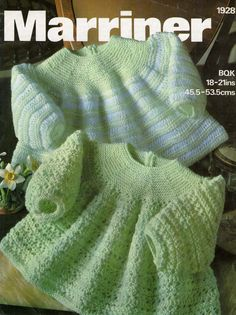 Baby DK 8 ply Dresses / Angel Tops 2 styles Sizes 18 and 21 ins - Marriner 1358 - pdf of Vintage Knitting Patterns