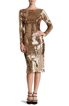 rehersal dinner dress... i am in love with the sparkle Dress the Population Scoop Back Sequin Sheath Dress available at #Nordstrom