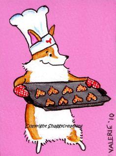 "PEMBROKE WELSH CORGI Art Print Corgi Valentines Baking Chef Art Print ""Valentine's Cookies"" Dog Art ~ Dog Lovers Gift ~ Dog Art Print by shaggycreations on Etsy https://www.etsy.com/listing/473579247/pembroke-welsh-corgi-art-print-corgi"
