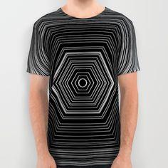Black & White Pentagon All-Over Print T-Shirt by Alex Greenhead | Society6