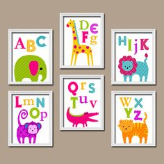 Colorful Elephant Monkey Alligator Giraffe Alphabet Animal Set of 6 Prints Wall Baby Decor Abstract Art Bedroom Picture Child Crib Nursery on Etsy, $54.02 CAD