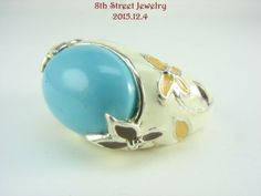 RETIRED-David-Sigal-Sterling-Silver-925-Turquoise-Enamel-Flower-Ring-Size-7