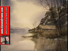 Watercolour painting tutorial of a boathouse on Ullswater