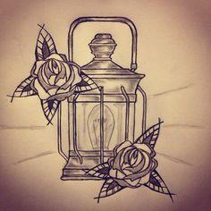 Lantern / Roses tattoo sketch by - Ranz
