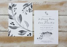 little peach co, wedding invitations, invites, stationery, illustration, olive branch, ink, charcoal, tuscany, italy, winery