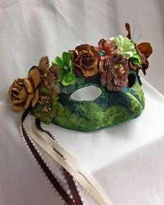 Green Flower Masquerade Mask Masquerade Ball Mask by DaraGallery, $36.50 http://www.mybigdaycompany.com/new-years-eve.html