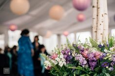 Wedding Ceremony | Ceremony Décor | Ceremony Flowers | Chuppa | Jewish Wedding | White and Purple Wedding Flowers | Boston Wedding | Stapleton Floral Design | New England Aquarium | Todd Wilson Images