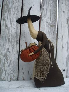 Primitive Witch Doll Gertie by ColdCreekPrimitives on Etsy, $29.95
