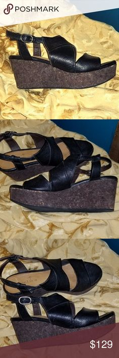 COCLICO SHOES MELANIA SLINGBACK CORK WEDGE SANDALS Gently used, as these were only worn once.  Very comfortable and in great condition.  20346 82010 (Style Number)  Originally paid $375.  Ask questions, make offers!  :) Thanks for looking, and check out my closet!  :) Coclico Shoes Wedges
