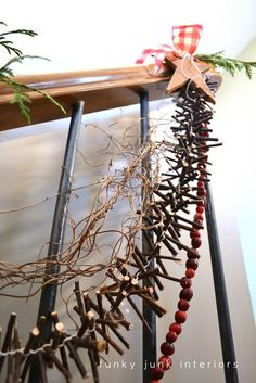 12 Days of Christmas Day 5: Make a twig garland, (with video) by Funky Junk Interiors