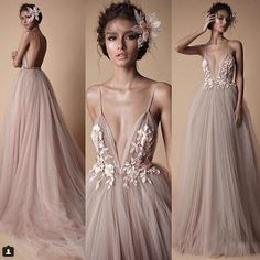 2018 Berta Evening Wear Formal Dresses Sheer Tulle Lace Floral Spaghetti Sweep Train Backless Holiday Party Prom Dress