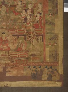 Large painting showing the Paradise of Śākyamuni in a Chinese architectural setting. The composition is simple and uncluttered, with the principal figures standing prominently against the background. Śākyamuni is seated on the top level. Below him are musicians and dancers, and further below is seated the Cosmological Buddha, Vairocana. At the bottom are female and male donor figures. The figures are symmetrically arranged in tiers in an architectural framework. The side scenes illustrate…