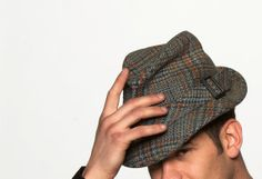 Vintage Houndstooth Men's Fedora Hat in Detective or Grandpa Style