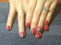 No Chip Gelish with shellac Chrome Christmas trees on the accent nail #christmasnails # holidaynails