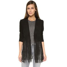 ONE by LAMARQUE Ronni Fringe Jacket ($490) ❤ liked on Polyvore featuring outerwear, jackets, black, long jacket, long sleeve jacket, black leather jacket, real leather jacket and leather jacket