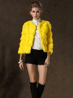Yellow Half Sleeve Rabbit Fur Coat - Fashion Clothing, Latest Street Fashion At Abaday.com