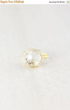 LABOR DAY SALE Crystal Quartz Ring Cushion Cut Gold by OhKuol