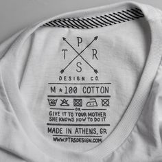potential place to include hashtag or fun quote about when they wear this, they'll be X, Y, Z PTRSdesign CO. t-shirt label clothing tag washing instructions