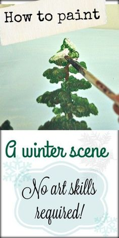 How to paint a winter scene Art skills not required is part of Winter Painting crafts - How to paint a winter scene no art skills required! Great for painting parties and group projects! Winter Scene Paintings, Winter Painting, Christmas Paintings, Christmas Art, Winter Scenes To Paint, Xmas, Tree Paintings, Painting Lessons, Painting Tips